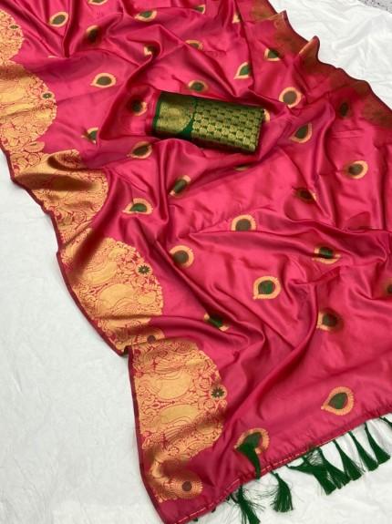 New design banarasi soft silk saree in Pink