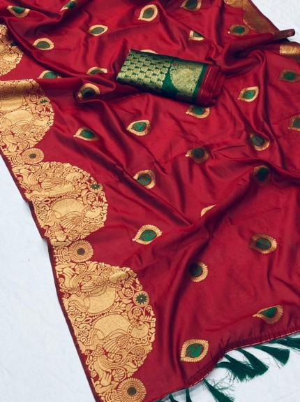 New design banarasi soft silk saree in Red