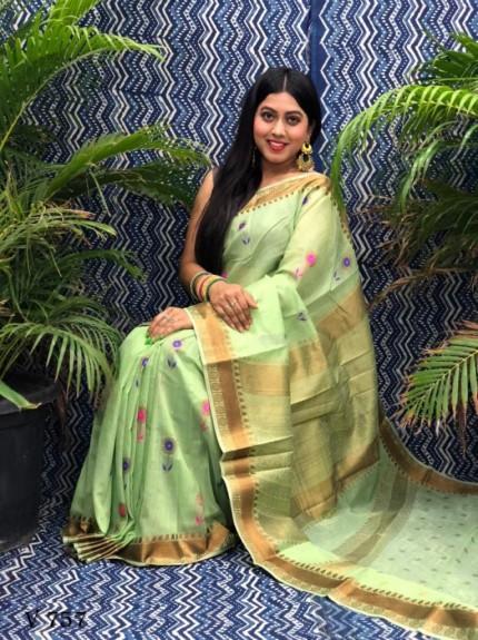 Fancy Green Linen Printed saree grabandpack