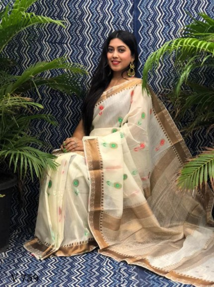 Fancy White Linen Printed saree grabandpack