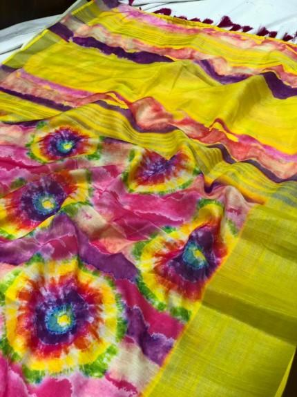 grabandpack Unique Printed Linen saree