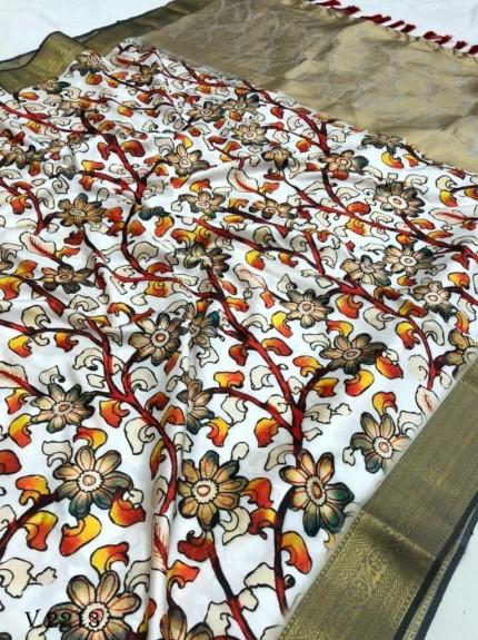 Off White Royal Flower Print Soft Silk Saree - gnp0108516