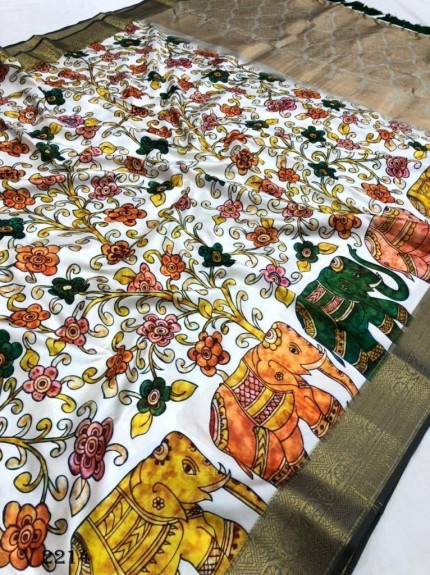 Off White Royal Flower Print Soft Silk Saree - gnp0108517