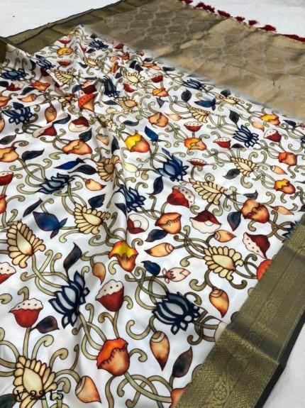 Off White Royal Flower Print Soft Silk Saree - gnp0108518