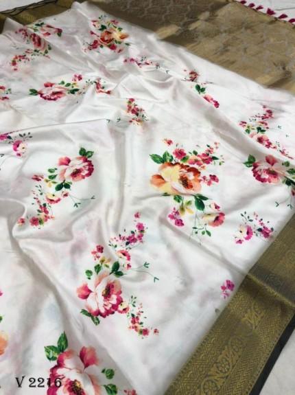 Off White Royal Flower Print Soft Silk Saree - gnp0108520
