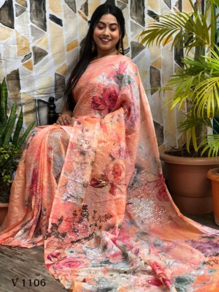 Orange Flower Printed Pure Tebi Silk saree