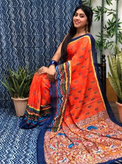 women's Orange Linen Ikkat Printed Designer Saree