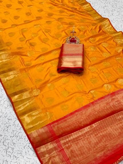 Orange color Soft silk saree online india