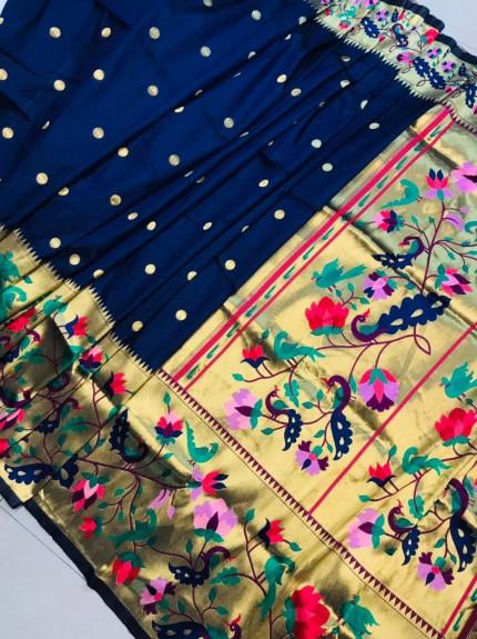 Paithani Soft silk saree in Blue at GrabandPack