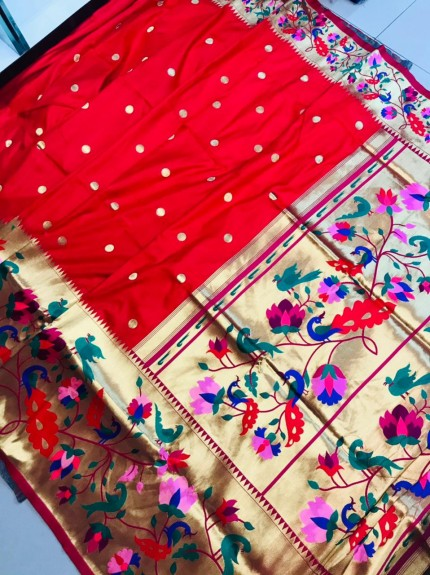 Branded Paithani Soft silk saree in Red