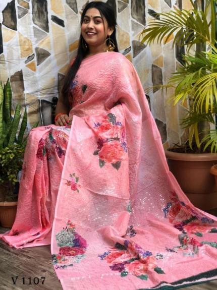Peach Flower Printed Pure Tebi Silk saree