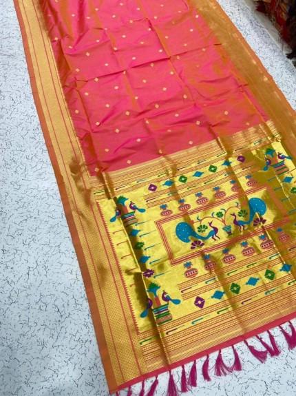 Grabandpack Peach Paithani Silk Saree
