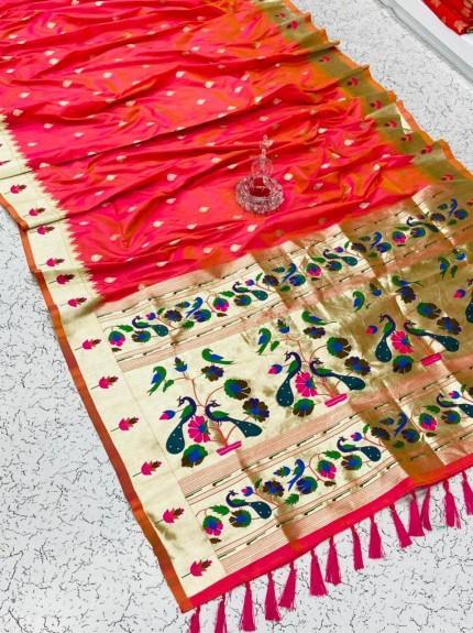 Pethani Silk Blend Festive Wear Saree in peach