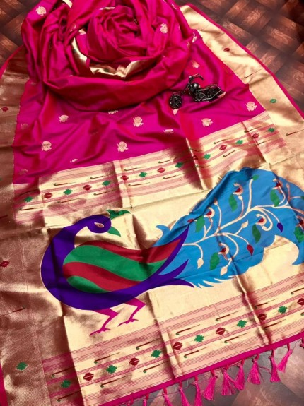 Pink silk saree for party