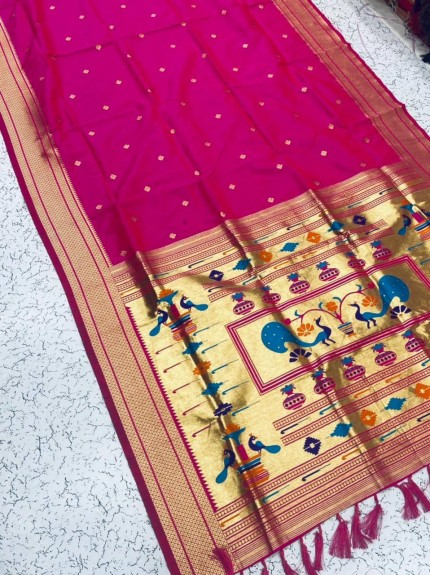 Grabandpack Pink Paithani Silk Saree