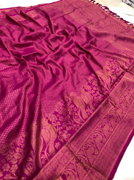 Pink Pure Banarasi Silk with Pure Gold Kasab Zari Yarn - gnp010049