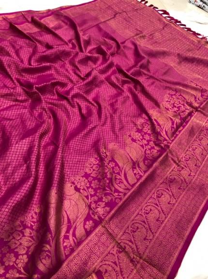 Pink Pure Banarasi Silk with Pure Gold Kasab Zari Yarn - gnp010049