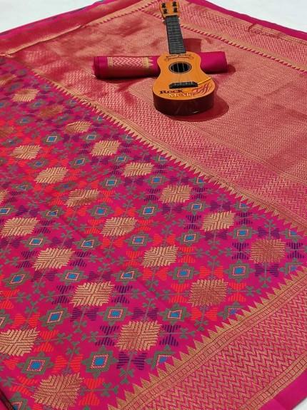 soft banarasi silk saree in pink