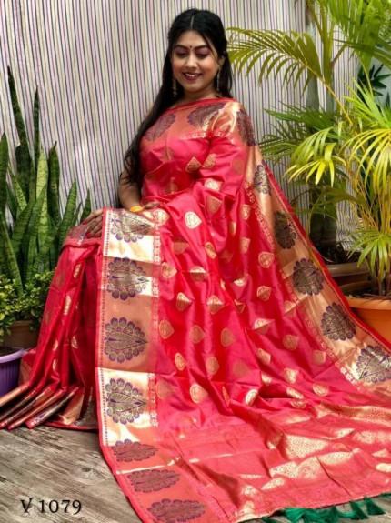 Pink Soft Banarasi Silk woven saree