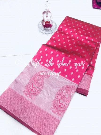 Pink Soft Banarasi Silver Weaving Silk Saree - gnp008684