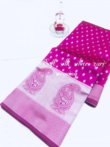 Pink Soft Banarasi Silver Weaving Silk Saree - gnp008685