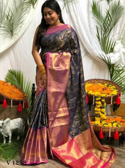 Premium Blue Banarasi silk saree