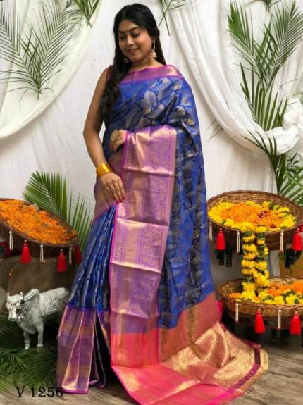 Premium Blue Banarasi silk saree grabandpack
