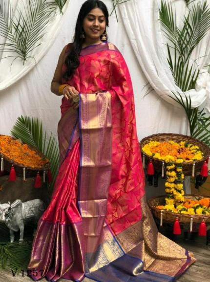 Premium pink Banarasi silk saree grabandpack
