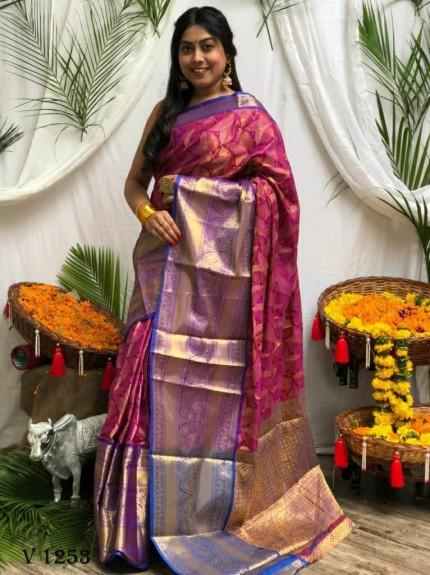 Premium purple Banarasi silk saree grabandpack