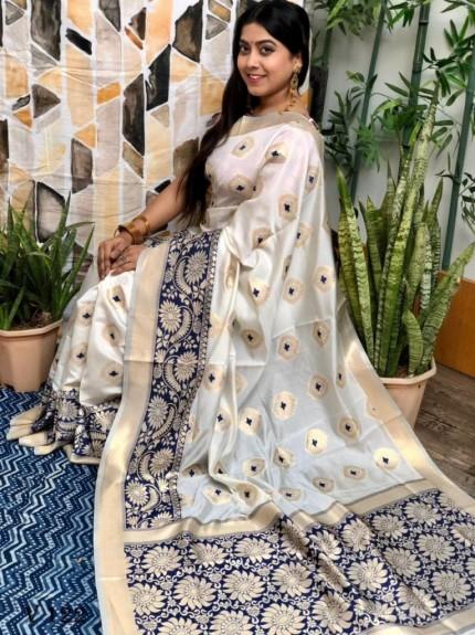 White coloured Katan silk saree with Blue coloured woven Border