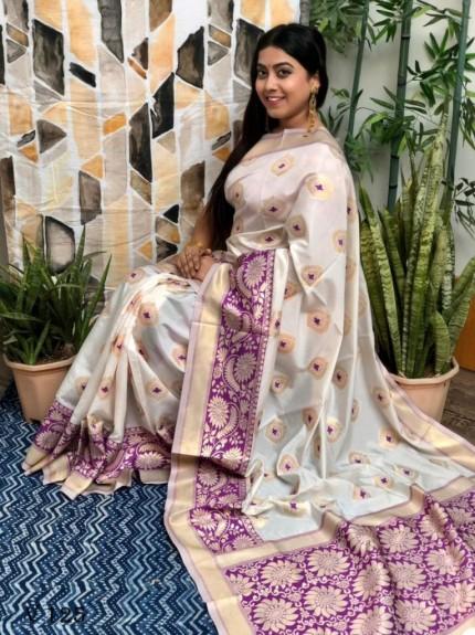 Prepossessing White Katan silk Saree