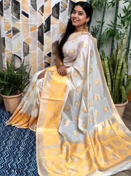 White coloured Katan silk saree with Yellow coloured woven Border