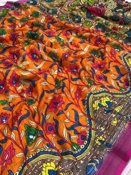 Orange Linen Silk saree