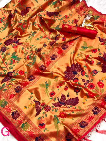 Pure Kanchipuram Paithani Silk Saree - gnp010077