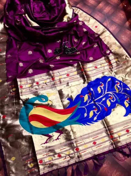 Purple Kanchipuram Full weaving and attractive saree