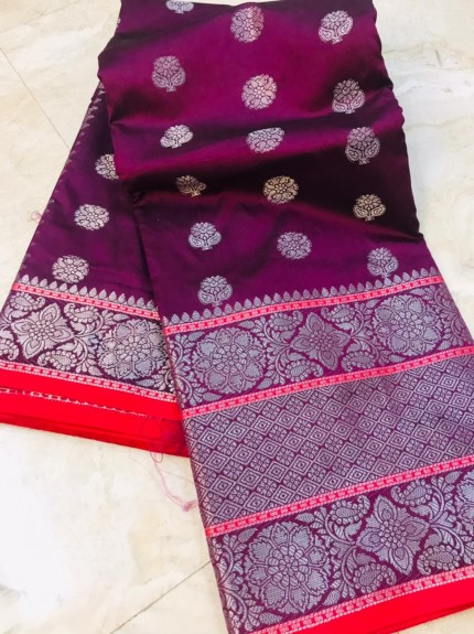 grabandpack Purple Lichi silk woven saree