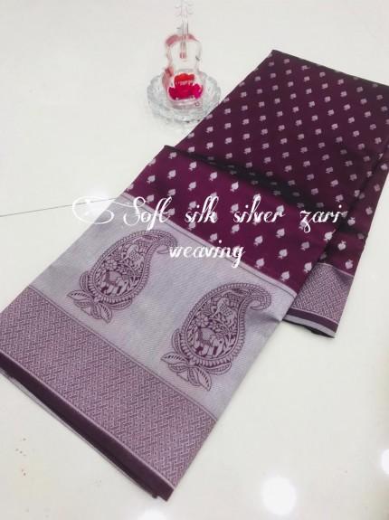 Purple Soft Banarasi Silver Weaving Silk Saree - gnp008686