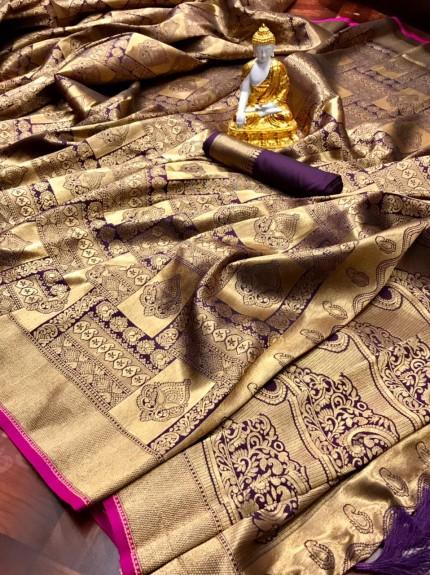 Purple Super Soft Banarasi Silk Saree with Weaving All Over Gold Zari - gnp010117