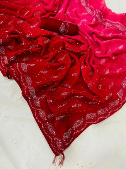 Shaded Red Colored Pure Rangoli silk Saree with Swaroski Work - gnp0107897