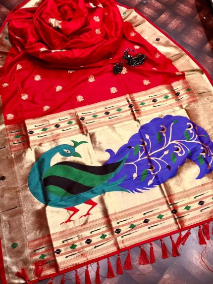 Red silk saree for party