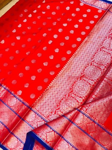 grabandpack Red Lichi silk woven saree