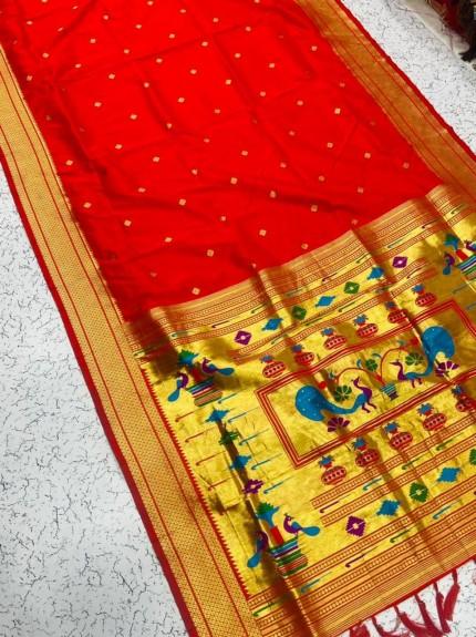 Grabandpack Red Paithani Silk Saree