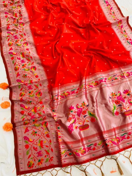 Best Buy Red Paithani Silk Traditional Saree