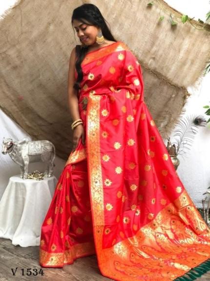 Red Soft Banarasi Silk Designer Wear Saree