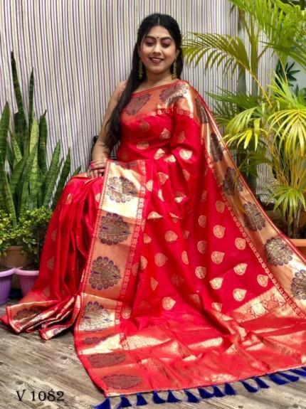 Red Soft Banarasi Silk woven saree