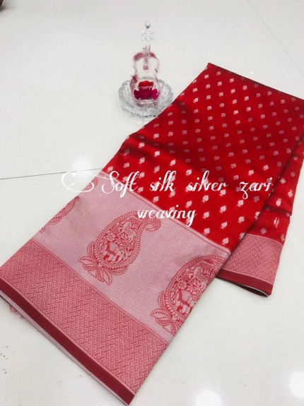Red Soft Banarasi Silver Weaving Silk Saree - gnp008692