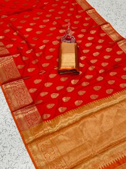 Red coloured soft silk saree