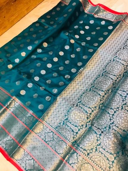 grabandpack Sea Blue Lichi silk woven saree