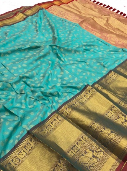 Sky Blue kanchipuram silk saree by grabandpack.com