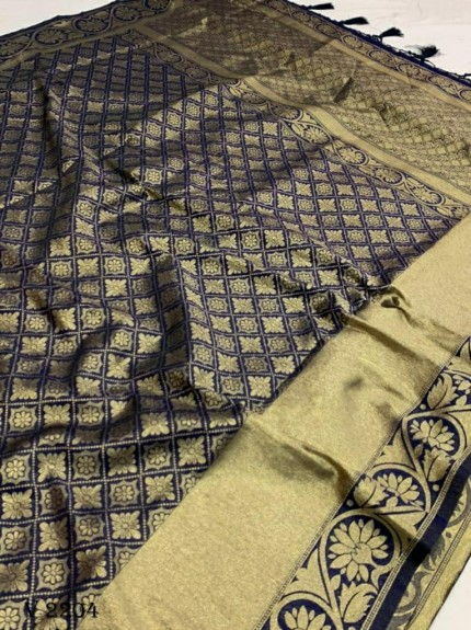 grabandpack Stunning Blue Dola silk saree